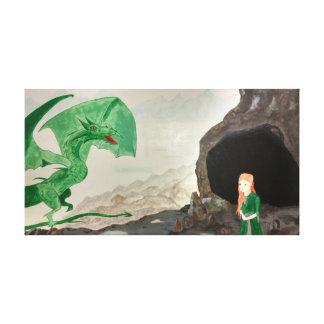 Impressão Em Tela Fantasia do dragão e da menina
