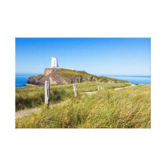 Impressão Em Tela Farol na ilha de Llanddwyn, Anglesey, Wales
