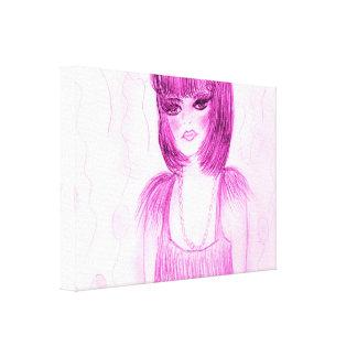 Impressão Em Tela Flapper do party girl no rosa quente