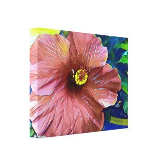 Impressão Em Tela Flor artística do hibiscus do rosa empoeirado