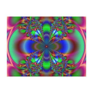 Impressão Em Tela Flor do Fractal no azul e no verde