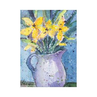 Impressão Em Tela Flores amarelas na aguarela azul do vaso