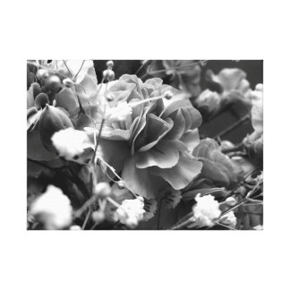 Impressão Em Tela Flores com respiração dos bebês em preto e branco