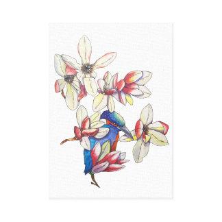 Impressão Em Tela flores e um pássaro