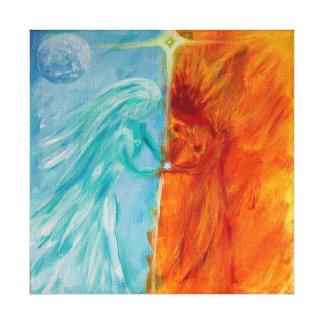 Impressão Em Tela Fogo e água, masculino e feminino divinos