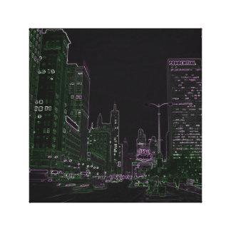 Impressão Em Tela Foto 1967 de néon do fulgor da noite da avenida de