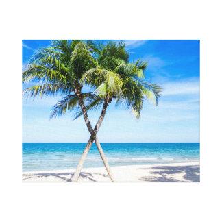 Impressão Em Tela Foto tropical do verão da praia da palmeira