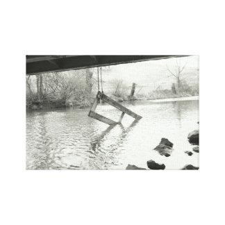 Impressão Em Tela Fotografia preto e branco da porta velha da