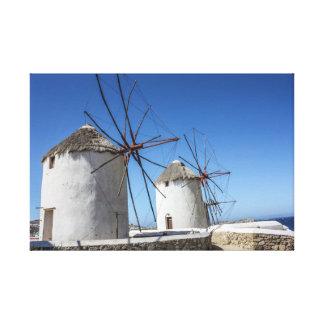 Impressão Em Tela Fotos de Mykonos: Moinhos de vento
