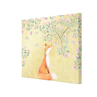 Impressão Em Tela Fox com borboletas e as flores cor-de-rosa