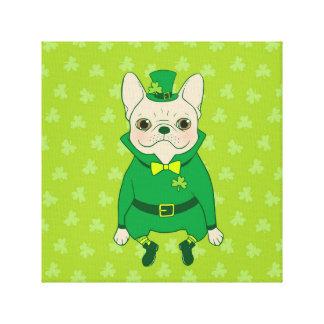 Impressão Em Tela Frenchie bonito afortunado no dia de St Patrick