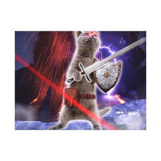 Impressão Em Tela gatos do guerreiro - gato do cavaleiro - laser do