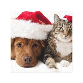 Impressão Em Tela Gatos e cães - gato do Natal - cão do Natal