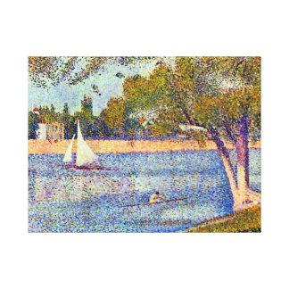 Impressão Em Tela Georges Seurat o Seine e o la Jatte grandioso