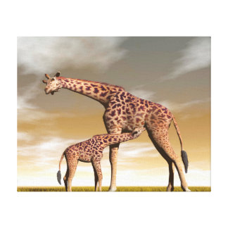 Impressão Em Tela Girafa da mãe e do bebê - 3D rendem