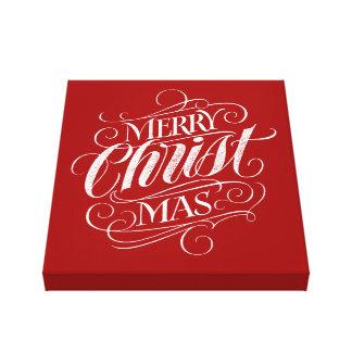 Impressão Em Tela Giz religioso do Feliz Natal que rotula o vermelho