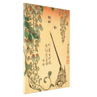 Impressão Em Tela Glicínias de Hokusai e arte GalleryHD do vintage
