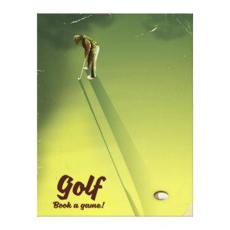 """Impressão Em Tela Golfe """"livro poster vintage de um jogo"""""""