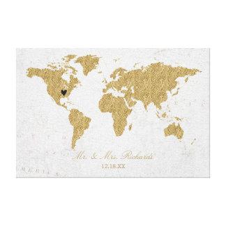 Impressão Em Tela Guestbook do alternativo do casamento do mapa do