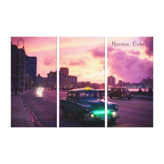 Impressão Em Tela Havana Cuba no por do sol com veículos do vintage
