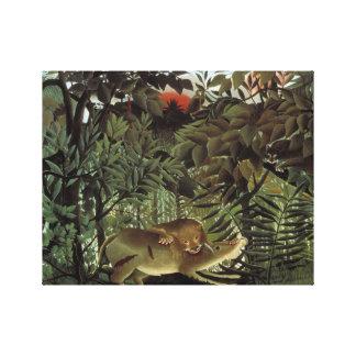 Impressão Em Tela Henri Rousseau - o ataque com fome do leão