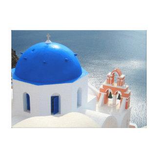 Impressão Em Tela Igreja de Santorini na tarde Sun