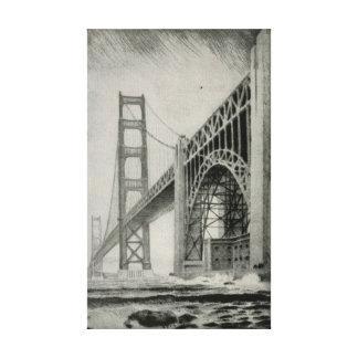 Impressão Em Tela Ilustração do vintage de golden gate bridge