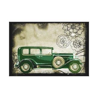 Impressão Em Tela Ilustração verde do carro do vintage