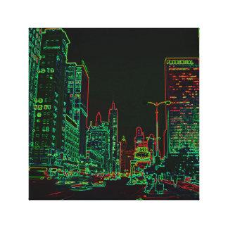 Impressão Em Tela Imagem de néon da noite do fulgor da avenida 1967