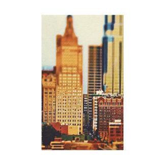 Impressão Em Tela Inclinação-Deslocamento do centro de Kansas City,
