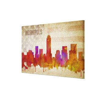 Impressão Em Tela Indianapolis, na skyline da cidade da aguarela de