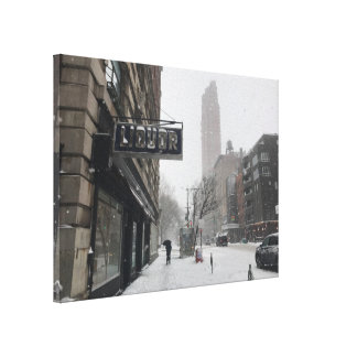 Impressão Em Tela Inverno da tempestade de neve da loja de bebidas