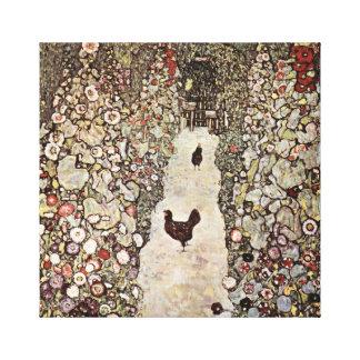 Impressão Em Tela Jardim de Gustavo Klimt com galos