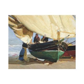 Impressão Em Tela Joaquin Sorolla - Pescadores. Varadas de Barcas