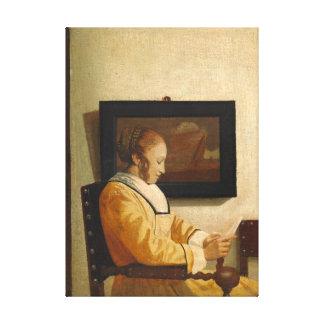 Impressão Em Tela Johannes Vermeer uma leitura da jovem mulher