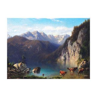Impressão Em Tela Karl Millner o Alpsee com gado