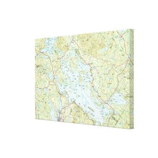 Impressão Em Tela Lago Winnipesaukee Mapa (1986)