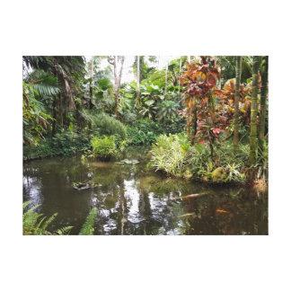 Impressão Em Tela Lagoa da reflexão do jardim botânico de Havaí
