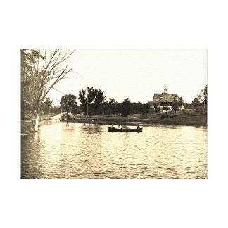 Impressão Em Tela lagoa Pavillion dos senhores Parque Elgin Illinois