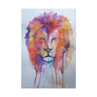 Impressão Em Tela Leão do Watercolour