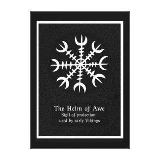 Impressão Em Tela Leme do sinal mágico islandês do incrédulo - preto