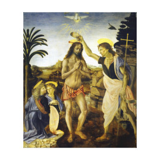 Impressão Em Tela Leonardo da Vinci o baptismo do cristo