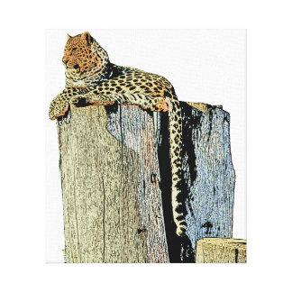 Impressão Em Tela Leopardo que descansa em um registro