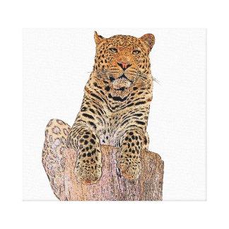 Impressão Em Tela Leopardo que olha o