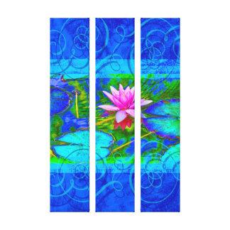 Impressão Em Tela Lilypad e flor na lagoa azul brilhante