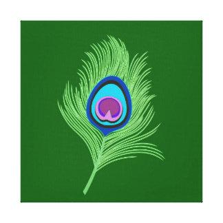 Impressão Em Tela Limão e pena azul do pavão no verde esmeralda