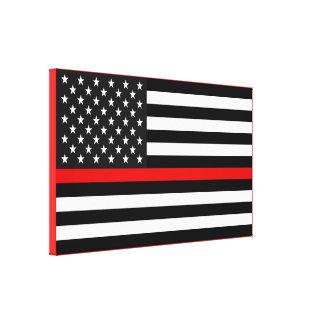 Impressão Em Tela Linha vermelha fina bandeira americana