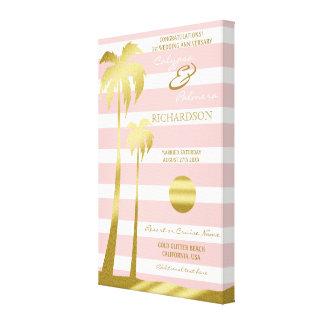 Impressão Em Tela Listras cor-de-rosa das palmeiras do brilho do