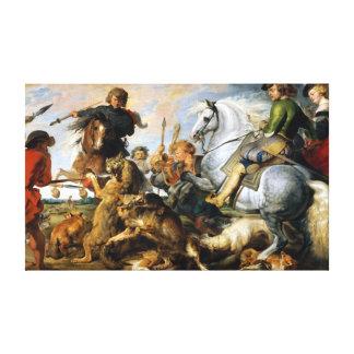 Impressão Em Tela Lobo de Peter Paul Rubens e caça de Fox