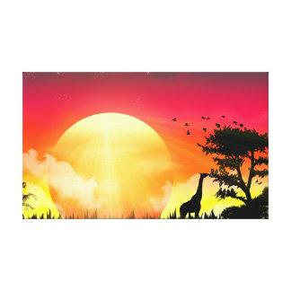 Impressão Em Tela Lona africana do por do sol